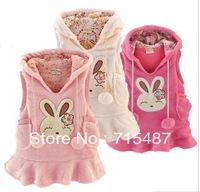 New Baby girl Rabbit Vest Dress bunny Rabbit Fleece warm waistcoat vest polar fleece dress ,(5pcs/lot 3 colors)