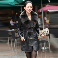 Leather clothing genuine leather sheepskin leather clothing women's long design leather outerwear fox fur plus size leather