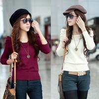 2012 autumn new arrival women's slim short design female long-sleeve pullover sweater basic shirt sweater