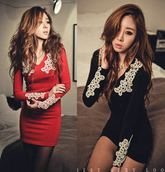 Red and black color autumn one-piece slim sexy slim hip elegant ladies V-neck cheap price women dress high quality(China (Mainland))