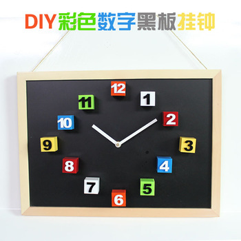 Natural wood box diy magnet wall clock blackboard message board clock gustless magnet square clock