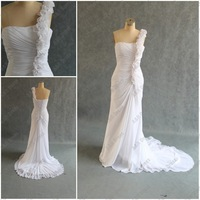 One Shoulder White Chiffon Designer Bridal Gowns SR-033 Under 100usd In Stock