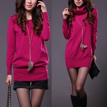 Loose women's medium-long sweater female basic shirt outerwear