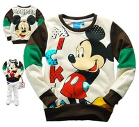 Free Shipping Hot 6pcs/lot Kids boys mickey t shirt/hoodies, baby girls Sweatshirts/hoody, kids Mickey coat/sweater