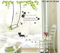 1*1.3m Swing Cat Wall Sticker One Fine Day English Poem Home Decor Transparent PVC Material Window Cling can be seen in 2 sides