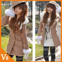 Free Shipping Women's Clothing 2013 Korean winter fur collar Hooded Slim woolen jacket double-breasted winter wool coat women