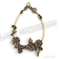 45pcs/lot Free Shipping Oval Shape Garland Charms Antique Bronze Plated Alloy Pendant Fit Jewelry Making 143564