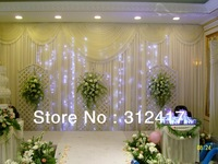 Free shipping wholesale and retail 3m*6m backdrop curtian with swag for party decorations , wedding supply