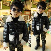 Free Shipping Children Winter patchwork jacket Boys Causal Padding Coat Outerwear Parkas Fashion Shining Fabric Kids Cloth