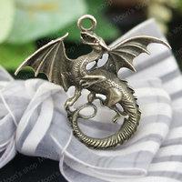 (26678)Free Shipping Wholesale Vintage Charms & Pendants Alloy Antique Bronze 47*43MM Dragon 10PCS