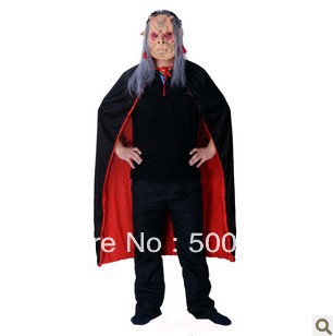 Halloween costume props supplies black red cloak + red eye grey hair ghost witch mask 405 g(China (Mainland))