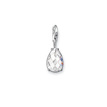 """Drop"" pendant, a checkerboard cut white zircon inlaid in 925 Silver into charms Fit Bracelet #TS 0418-051-14(China (Mainland))"