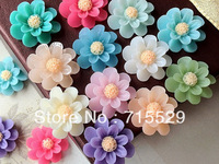 Free shipping 21mm 16 Colors Resin Flower Cabochon for Jewelry / Mobile Phone Decoration Accessories Wholesale 200PCS/LOT