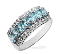 Size 7/8/9 Women's Blue Aquamarine 10KT White Gold Filled Gem Ring For Lady's  Christmas gift