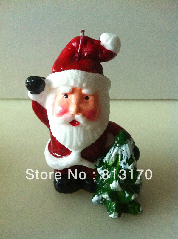 Free shipping high quality flameless Santa Claus and christmas tree decorative candles as chirstmas gift(8pcs/lot)(China (Mainland))
