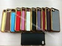1000pcs/lot  Bulk Wholesale Deluxe Carbon Fiber Hard Cover Case W/ Chrome  for iphone 5 5g