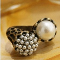 Кольцо Pearl flower ring and delicate flowers three piece set ring! #569