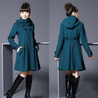 Free shipping 2012 female fashion winter poncho hooded double breasted wool coat