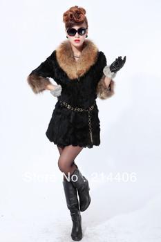 EMS free shipping 2012 New fashion raccoon collars rabbit fur long women luxury black  fur jacket XL,XXL