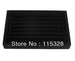 Free Shipping,Wholesale 1pcs 7 Rows Black Jewelry Rings Earrings Display Show Case Organizer Tray Box(China (Mainland))