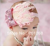 3pc/lot  baby headband baby pink hairbow feather headband christmas headwear CPAM
