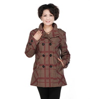 Four seasons of quinquagenarian women's autumn plaid outerwear autumn and winter plus size the elderly Women clothes