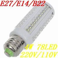 E27 E14 B22 base type 78 PTH LEDs 4W 400lumen Cold/warm White Corn Light Bulb 220V/110V lamp