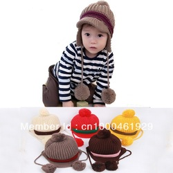 5 Colors/ Lot Fashion Earmuffs Double Ball Lovely Winter Earflap Knitted Children's Baby Kids Boy Girl Hat Cap SH01(China (Mainland))