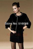 Factory Direct Sale Women's Short Black Mink Fur Coat With Chain Design