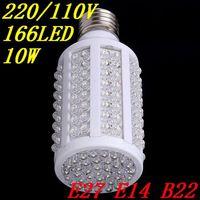 166 LED E27  B22 E14 10W Cold/warm White Energy Saving Corn Light Bulb 220V/110V 1000LM lamp