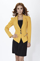 2014 New Fashion Women Blazer Coat for Ladies OL Long Sleeve Cotton Autumn Winter Yellow Free shipping