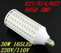 Free shipping E27 E14 B22 165 SMD LED 30W Cold/warm White 2300LM candle lamp Corn Light Bulb 220V/110V