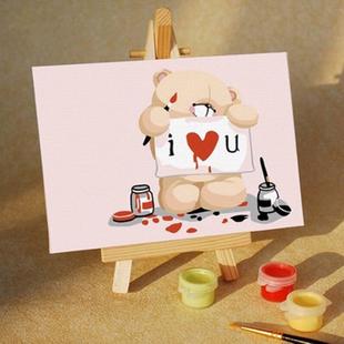Digital oil painting diy oil painting 8 cartoon child lovers 10 15 love bear