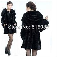 Kuotaitai 2012 modern long black natural mink fur coat with big collar hot sale