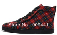Men's  Sheepskin  Casual Sneakers Flat Shoes Red Bottom