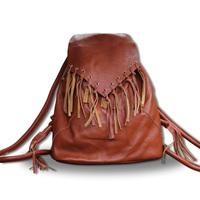 Tokharoi 2012 handmade cowhide tassel genuine leather backpack travel backpack female bags