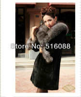Kuotaitai 2012 showily ladies' natural black whole mink fur garment long style with silver fox fur collar