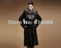 Factory 2012 New Design Women's Long Black Mink Fur Coat Outer Wear With High Quality Big Fox Fur Collar
