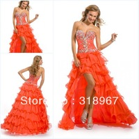 Free Shipping Orange Organza Sweetheart Crytal Tiered  Long Christmas Prom Dresses