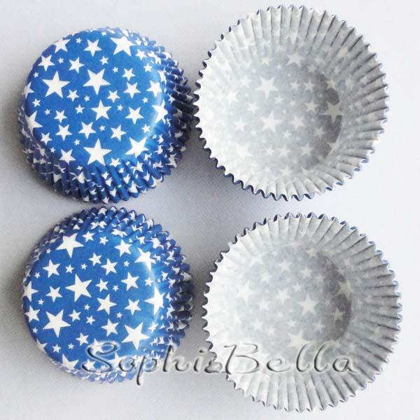 Free Shipping B275 100pcs Shining Bule Stars paper baking cups cupcake liners muffin cases C(China (Mainland))