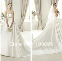 2013 Soft Hot Sale Strapless White Satin Beaded Court Train Modest Wedding Dresses
