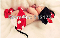 Free shipping--baby lovely mouse formative bowknot Hand woven knitting hat+short +shoes baby photography clothing cute 1pcs/lot