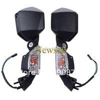 Left Right Mirrors +Turn Signal Light for Kawasaki ZX 10R 2008 09 10 11 Black  Free shipping