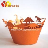 hot sell customizable dinosaur disposable paper laser cut individual unique cupcake wrappers