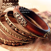 5075 fashion vintage accessories wood carved multi-layer bracelet hand ring female