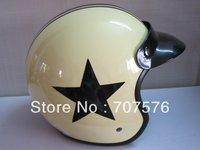 Taiwan Version Half Helmet Stars Restoring Style Knight Motorcycle Helmet five-pointed star Electric Car Helmet Light Yellow