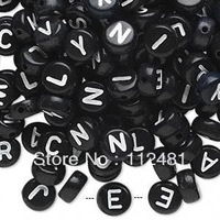 4x7MM 3600pcs A lot  Black Color Round  Acrylic Alphabet Letter Beads Fit Bracelet Jewelry Finding Making Wholesales!
