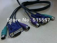 Free shipping 2 x New PS2 KVM Cable , HD15 MD6 Male to Male