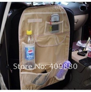 Car multi Pocket Storage Organizer Arrangement Bag of Back seat of chair - Free shipping-beige