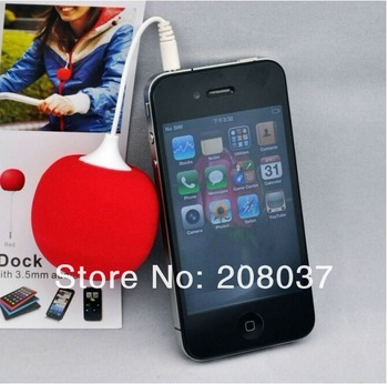 Newest Mini speaker Audio Dock ball for iphone MP3 MP4 pc 3.5mm audio jack , with retail package 10pcs/lot free shipping